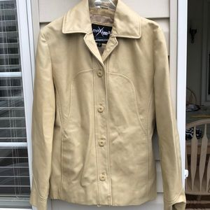 Wilson's Maxima Beige Leather Jacket Small